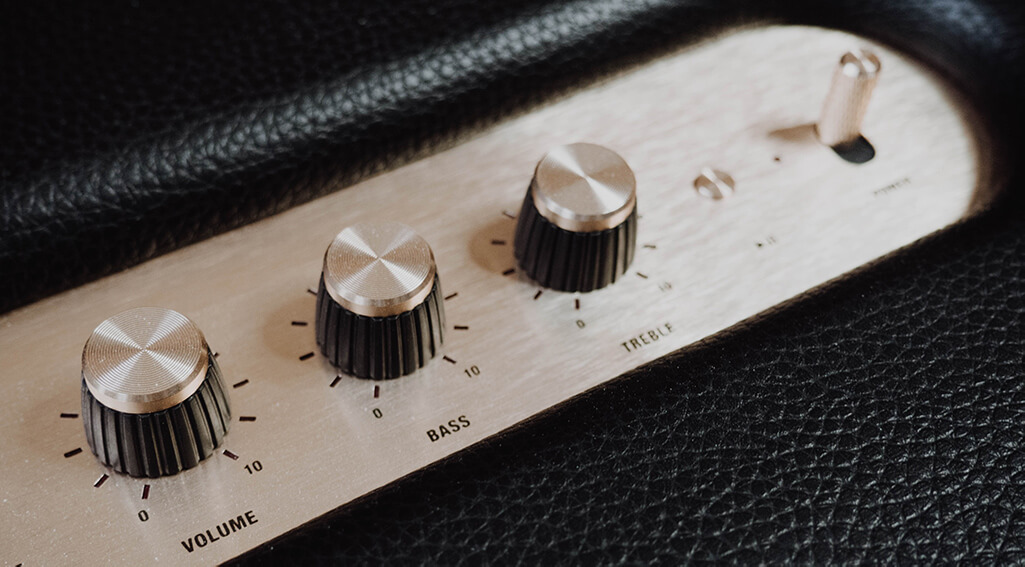 Tuning dials, like those for volume, bass, and treble, accommodate different preferences