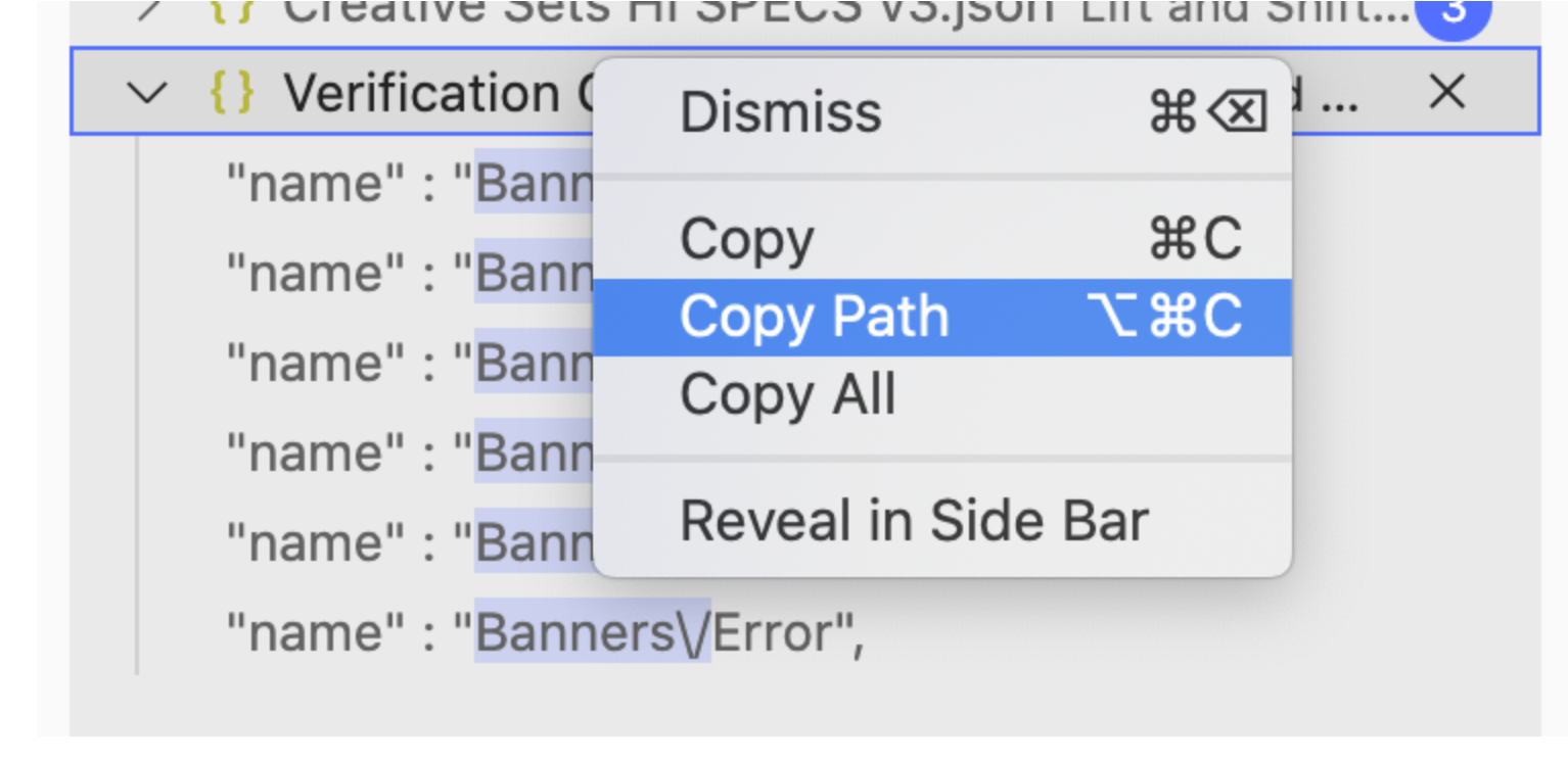 Right-click menu showing Copy Path option selected