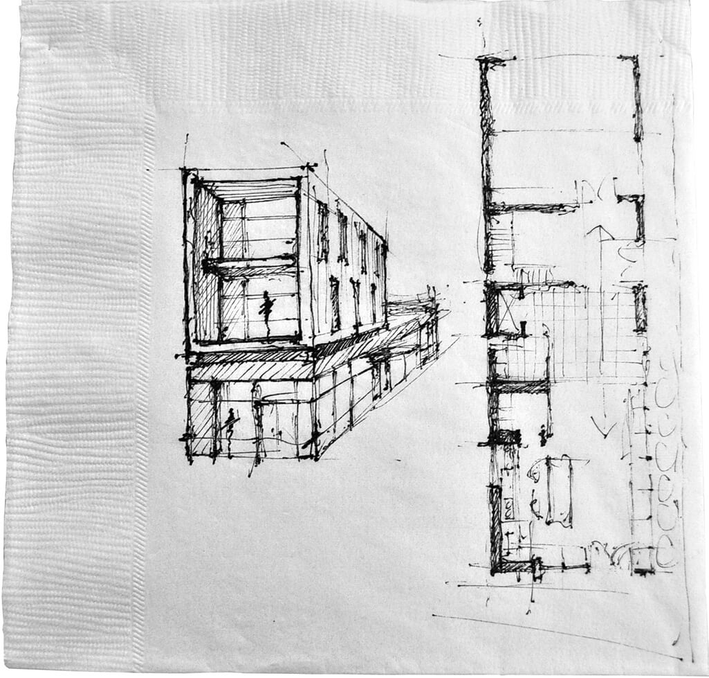 Image of a sketch on a napkin