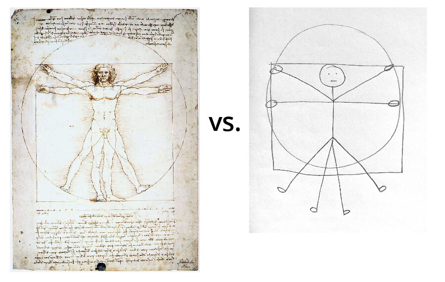 Side-by-side images - da Vinci's Vitruvian Man and a simple sketch of the same image