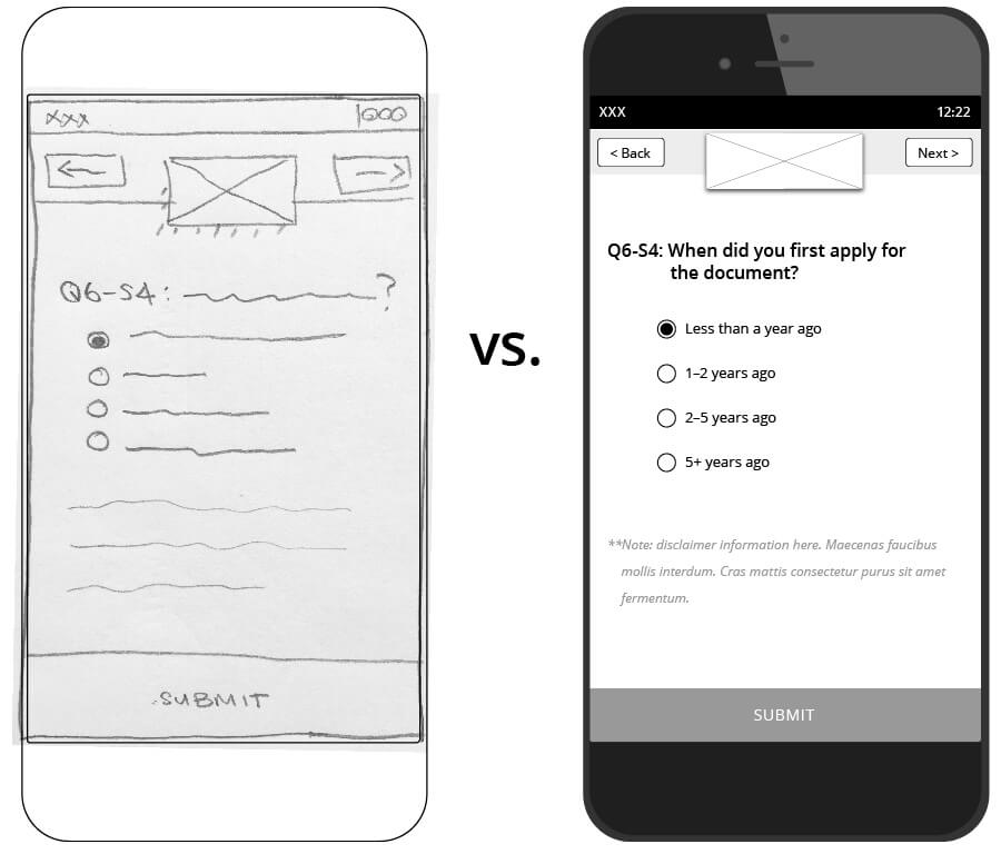 Image comparison of a UI sketch and a digital low fidelity mockup