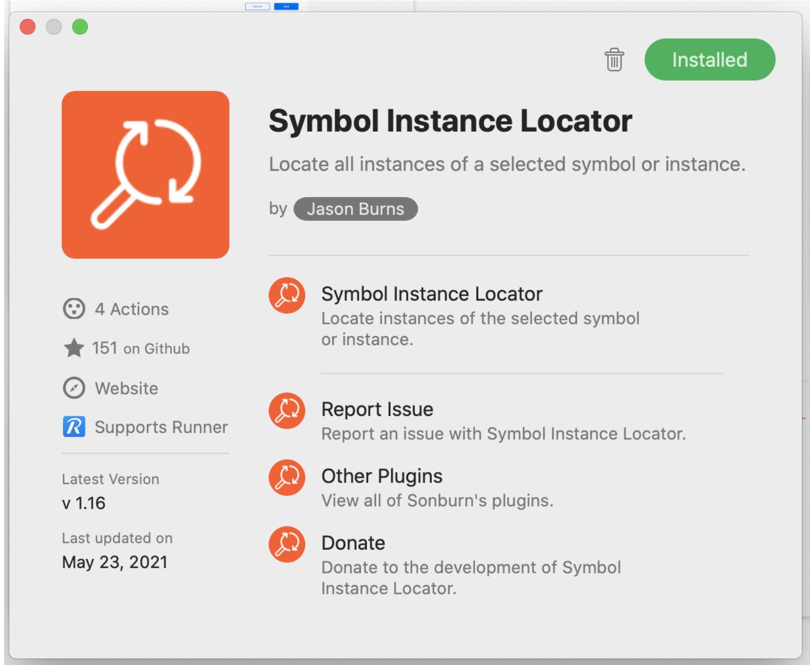 Symbol Instance Locator installed confirmation dialog