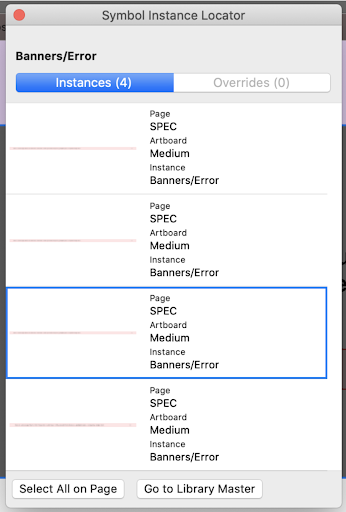 Symbol Instance Locator results for Banner symbol