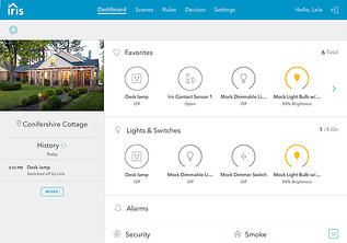 Dashboard screen for Iris home automation app
