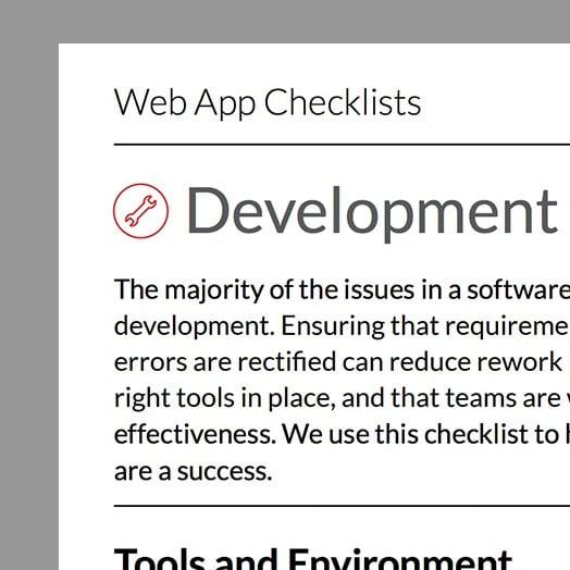 web app checklist