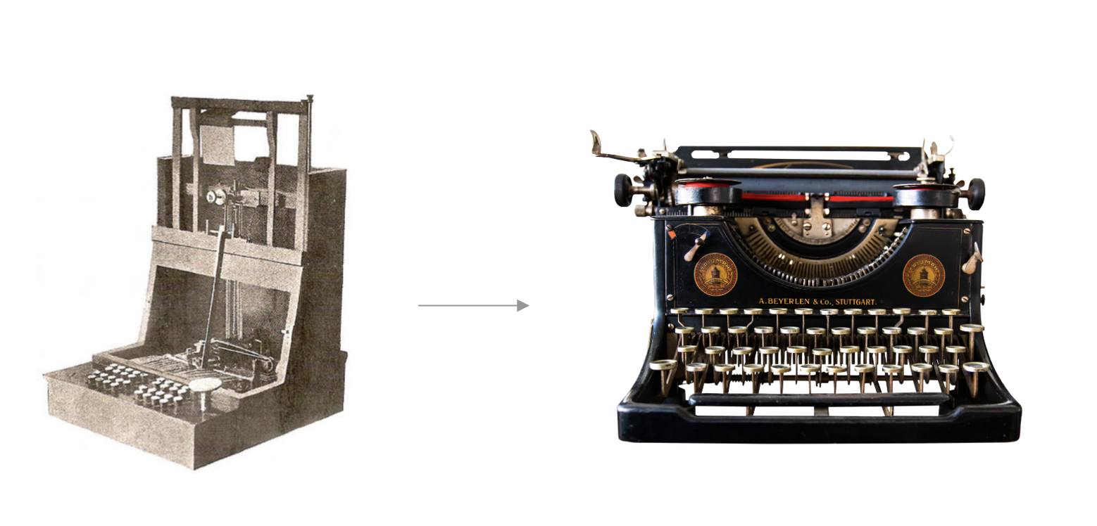 Decorative Image of two typewriters. The first one is John Pratt's Pterotype with an odd shaped keyboard and the second one is a typewriter with keyboard that is similarly shaped to the ones we use today.