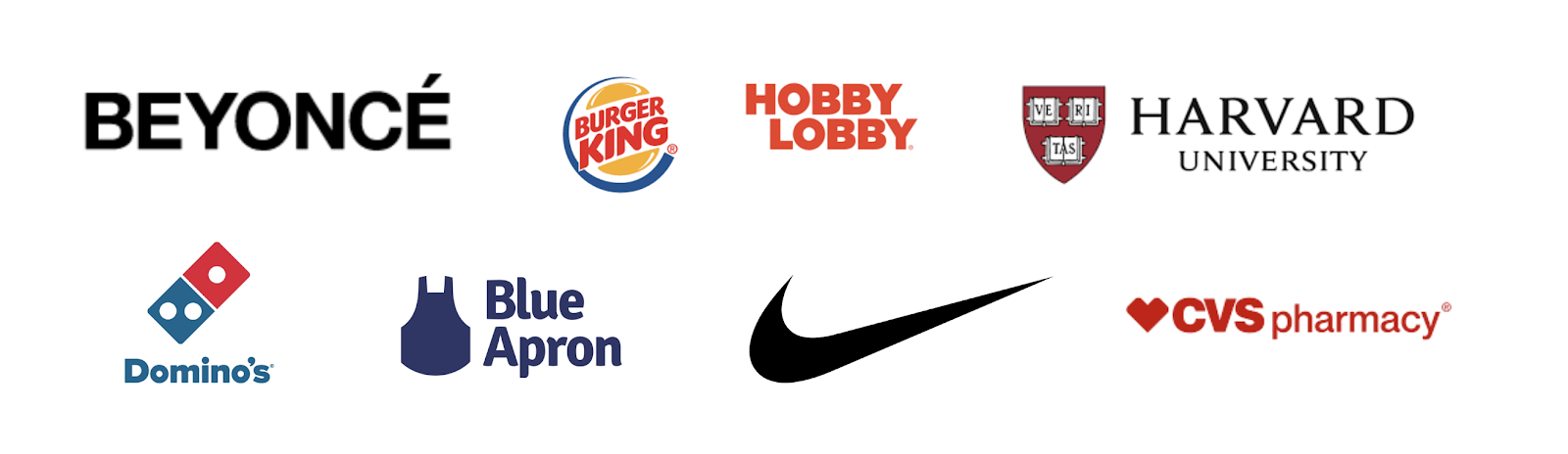 Beyoncé, hobby lobby, blue apron, Nike, and the famous Domino's lawsuit.