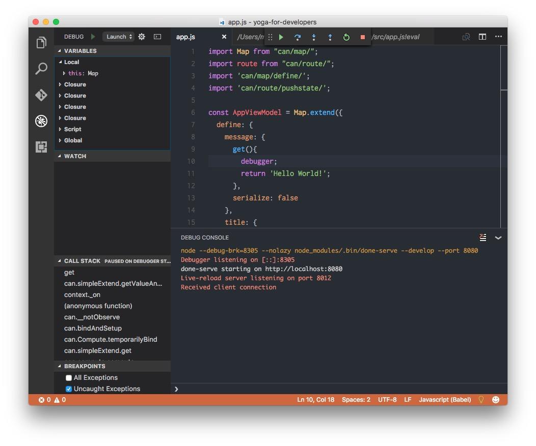 Starting the debugger.