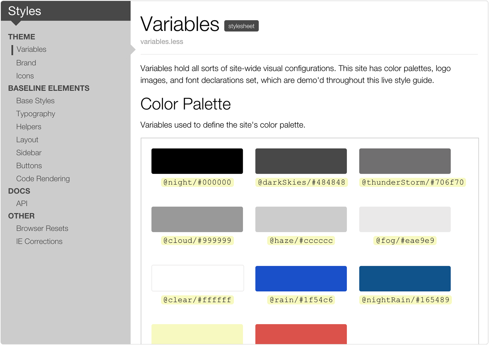Live Style Guide Example