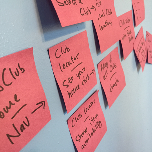 user flow with sticky notes