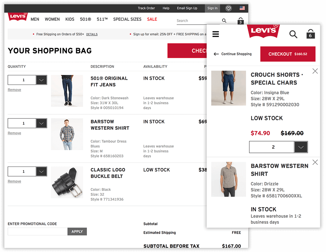 Levi's desktop and app