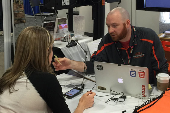Ryan from Bitovi conducting user research testing on-site at a trucking trade show