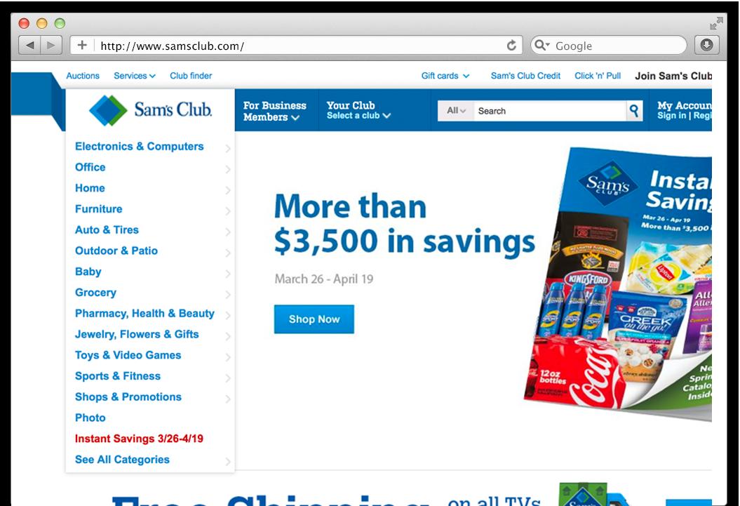 Sam's Old desktop site