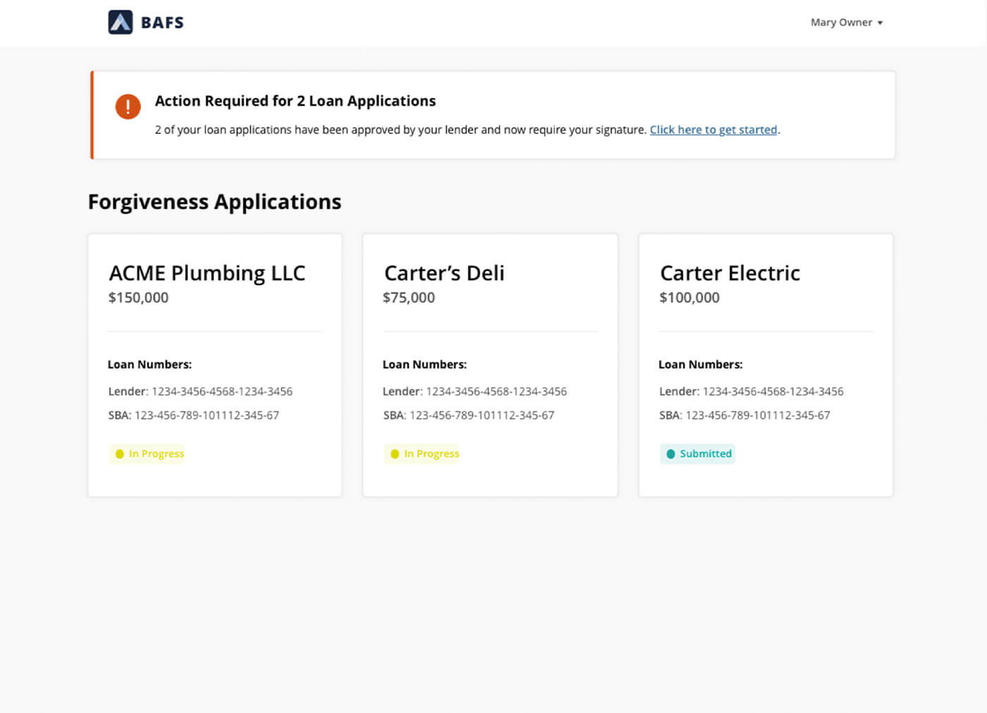BAFS dashboard showing loan applications; two are flagged as needing attention