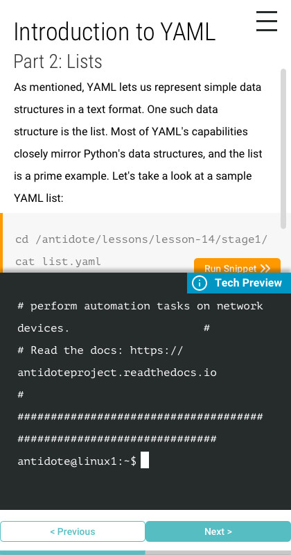 Mobile view for Part 2 of the Introduction to YAML online class