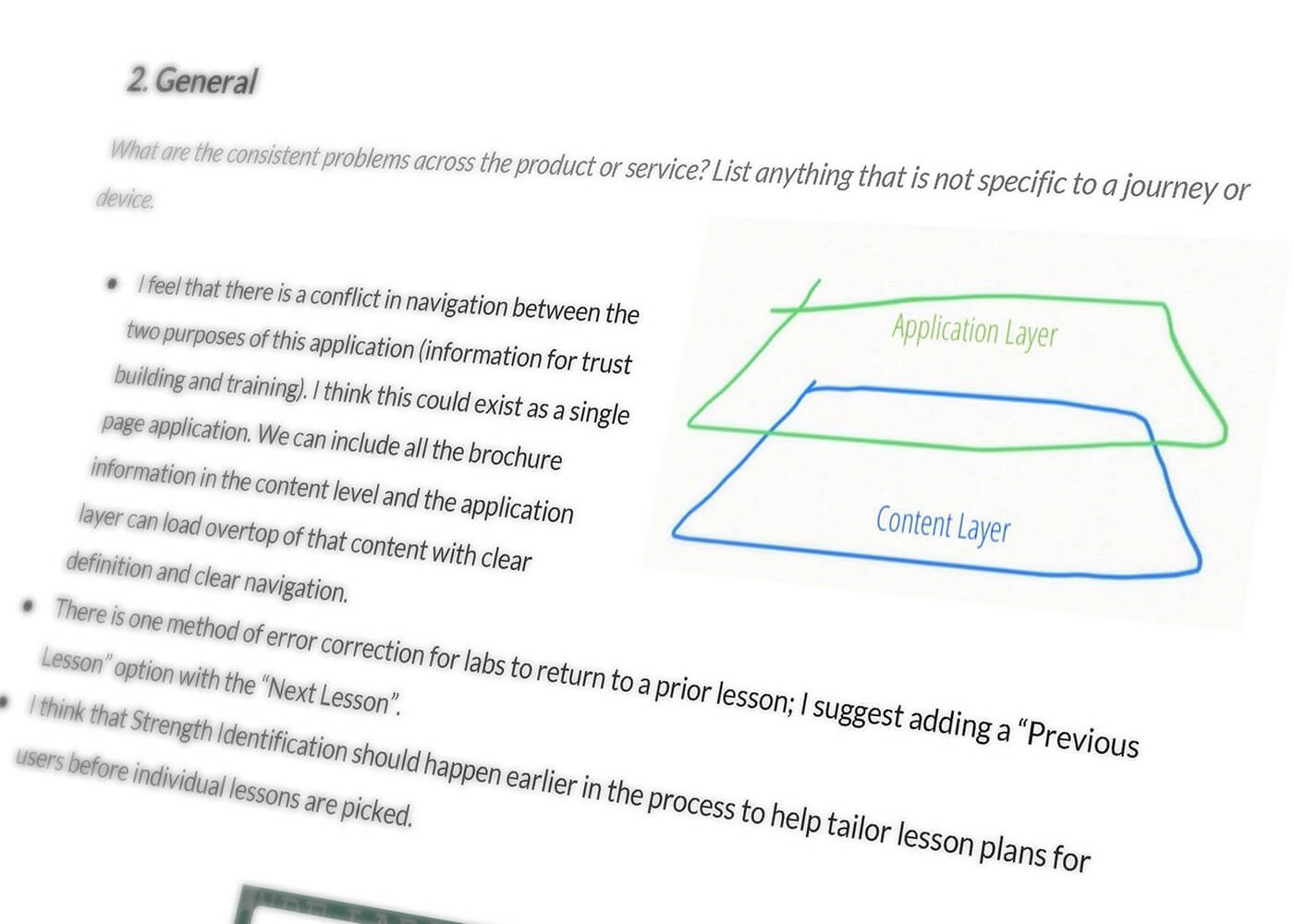 An excerpt from the Usability Design Review document recommending an application layer and a content layer