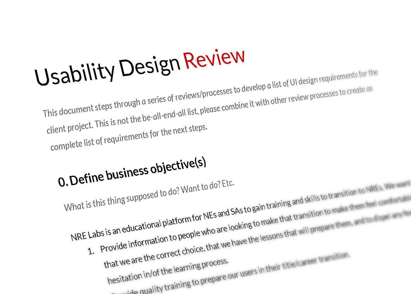 Usability Design Review document