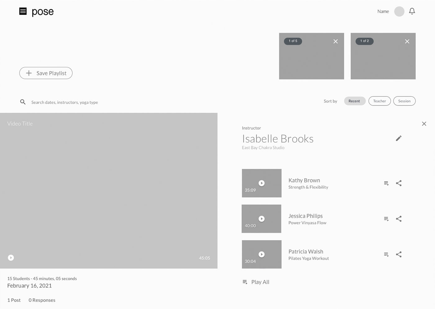 A grayscale wireframe for a playlist page
