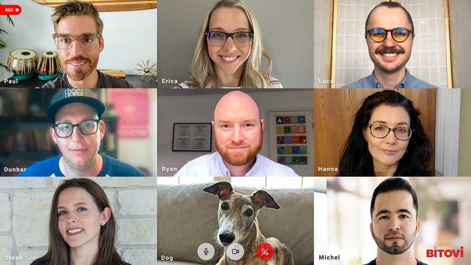 UX Team members on a Zoom call: Paul, Erica, Luca, Dunbar, Ryan, Hanna, Stephanie, Michel, and Erica's dog, Ava